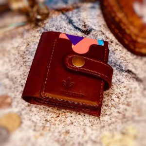 Kompaktiška natūralios odos rankų darbo piniginė banknotams, monetoms, kortelėms